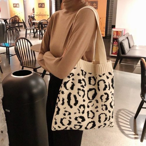 Women Leopard Knitting Tote Shoulder Bags Casual Weave Handbags Female Large Capacity Soft Shopping Bag Cute Book Bag For Girls