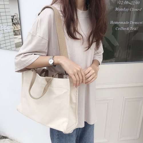 Women Canvas Tote Shoulder Bag Female Large Capacity Simple Handbags Casual Cotton Cloth Shopping Girls School Crossbody Bags
