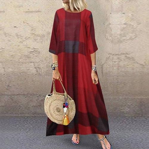 Women Cotton Print  Linen Graffiti  Sleeve Long Dress Printed  Contrast Dress
