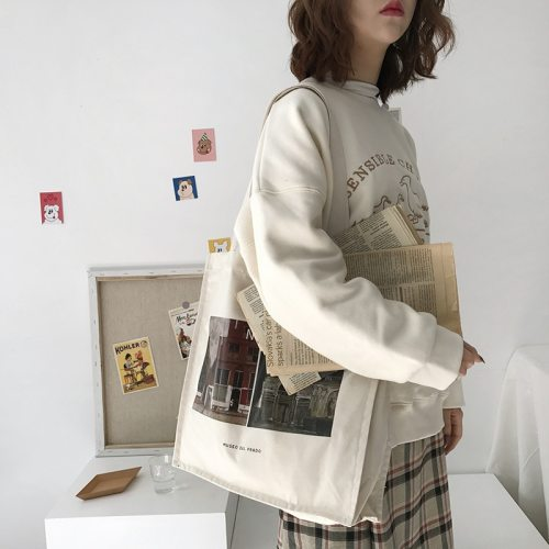 Women Canvas Shoulder Bag Prado Museum Pictures Printing Tote Female Casual Retro Handbags Large Cotton Cloth Shopping Book Bags