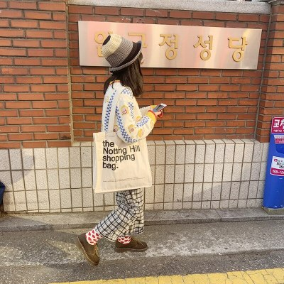Women Canvas Shopping Bag Notting Hill Letters Printing Totes Female Casual Cotton Cloth Handbag Girls Shoulder School Book Bags
