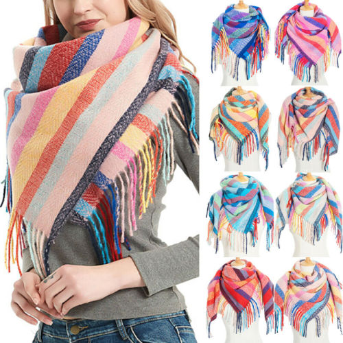 Soft Scarf Shawl Wrap Tassel Striped Pattern Warm Thick Scarves