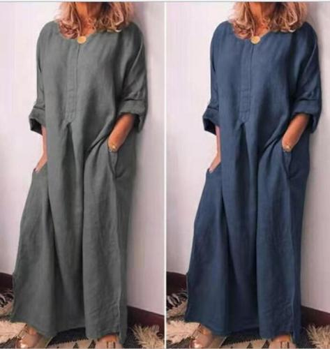 Women's Cotton and Linen Solid Color Loose Long-sleeved Dress