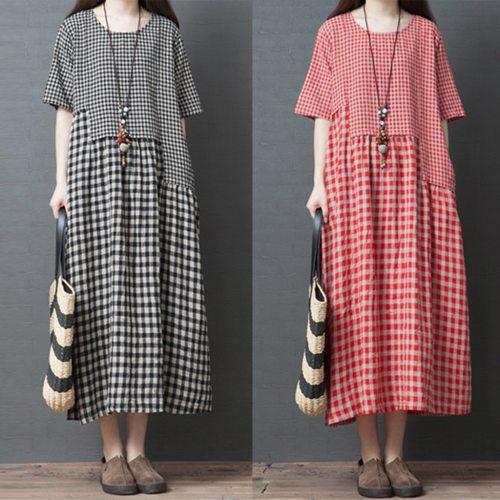 Women Cotton Linen Plaid Dress O-neck Short-sleeve Loose Plus Size Dress