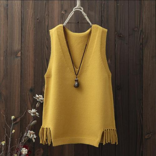 2021 Spring Autumn Winter Solid Color Sleeveless Sweaters Women Vest Girls Tassel V Neck Knitted Vest