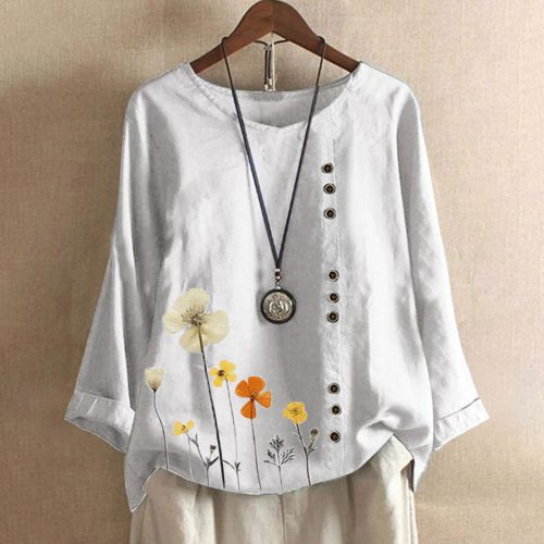 Women Casual Floral Print Long Sleeve O-Neck Loose T-Shirt Top Blouse