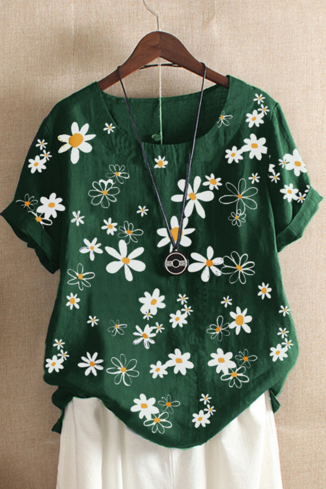 5XL Plus Size Women Casual Floral Print Short Sleeve O-Neck Loose T-Shirt Top Blouse