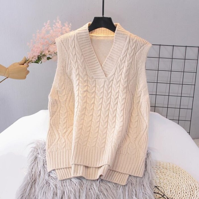 2021 Autumn Winter Women Knitted Sweater Sleeveless Women Loose Vest Ladies V-Neck Pullover Tops