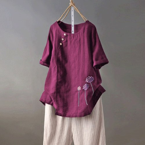 Womens Cotton and Linen Plus Size Embroidery O-Neck Button Casual Blouse Tops