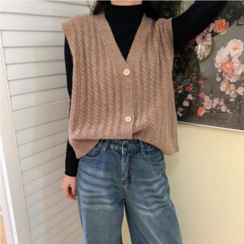 Autumn Korean Women Knitted Sweater Cardigan Sleeveless Female Sweater Vest Ladies V-Neck Sweater Vest