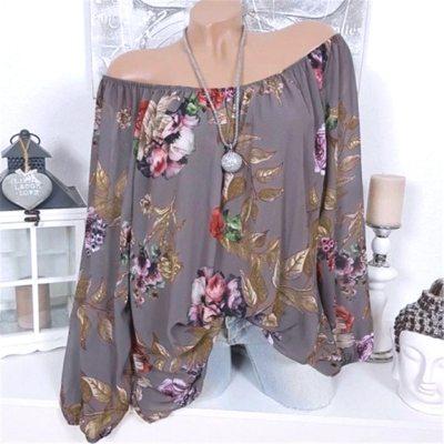 5xl Plus Size Women Fashion Slash Neck Floral Print Long Sleeve Top Shirt Blouse