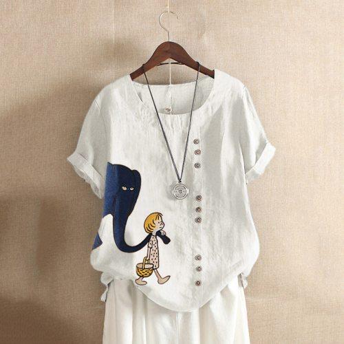 5XL Cotton Linen Women Casual Plus Size O-Neck Printed Loose Button Tunic Shirt Blouse Tops