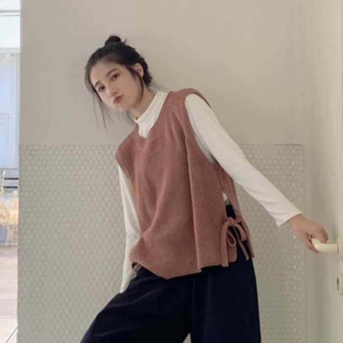 2021 Women Knitted Sweater Sleeveless Women Loose Sweater Vest