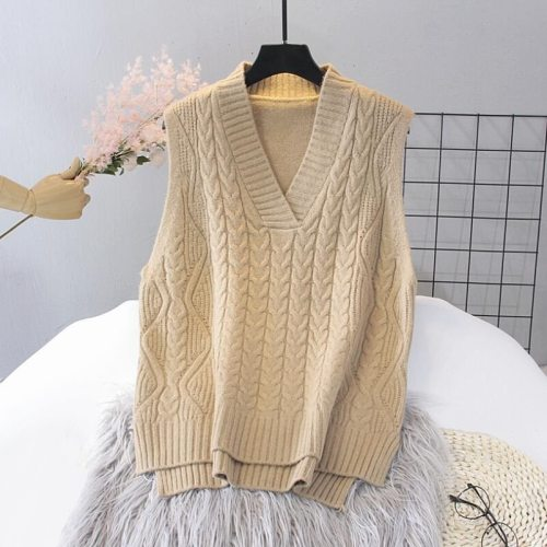 2021 Autumn Winter Women Knitted Sweater Sleeveless Women Loose Vest Ladies V-Neck Pullover Tops