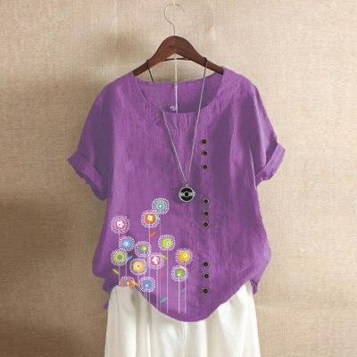 Women Casual Floral Print Short Sleeve O-Neck Button T-Shirt Top Blouse