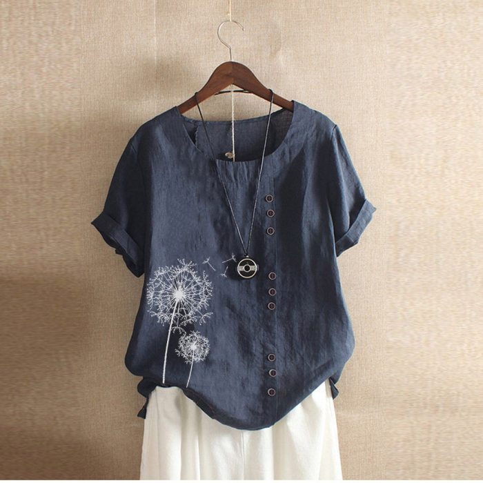 Loose Single-breasted Shirts Womens Casual Loose Button Linen Plus Size Print Boho Tanic Shirt Blouse Tops