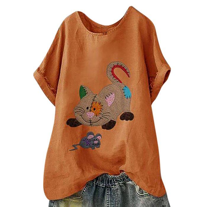 Plus Size Women Short Sleeve Cotton Linen O-Neck Print Blouse Top T-Shirt