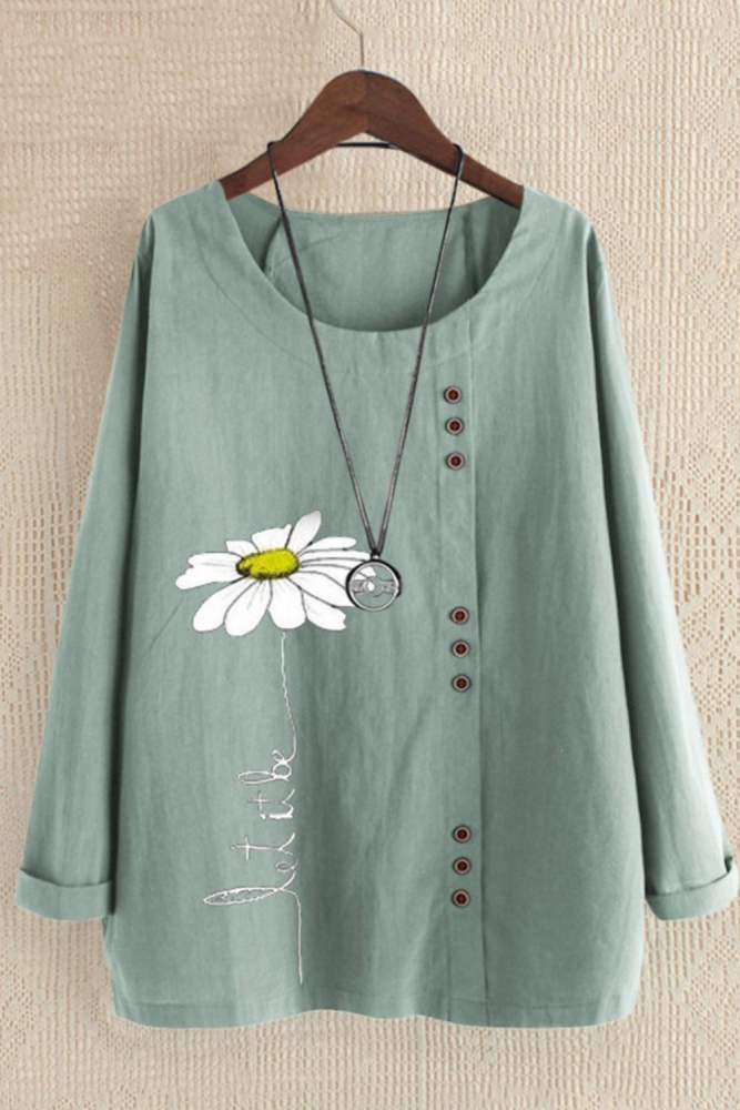 2021 Woman Casual Floral Point Print O-Neck Short Sleeve T-shirts Blouse Loose Top