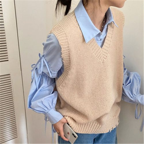 2021 Girls Clothes Fashion Women Knitted Vest Pullovers V Neck Sleeveless Knitted Jumper Pullovers Korean Loose Sweater Vest