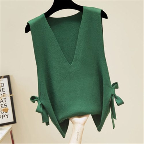 2021 Knitted Vest For Women Autumn Sleeveless Split V-neck Lace Up Loose Korean Fashion Pullover Sweater Vest