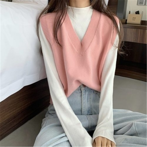 Fashion 2021 autumn and winter korean style v neck knitted solid color sleeveless vest sweaters womens pullovers womens