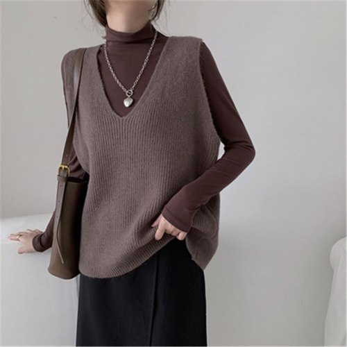 Women Sweaters Autumn Winter 2021 Korean Style Casual V Neck Short Knitted Sweater Vest