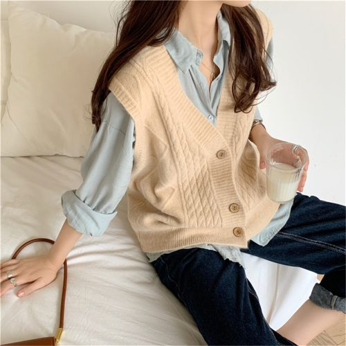 2021 New Oversize V-Neck Single-breasted Camel Sweater Cardigan Women Autumn Loose Knitted Vest Outerwear