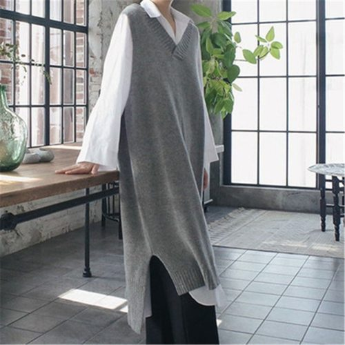 2021 Fashion Clothes Tide Korean Knitting Vest For Women V Neck Sleeveless Asymmetric Side Split Long Vests