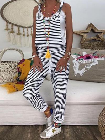 Women Flower Print Loose Jumpsuits Rompers V-neck Herem Pants Sport Slacks Suspenders Hip Pop Sport Slacks Lace up Full Length