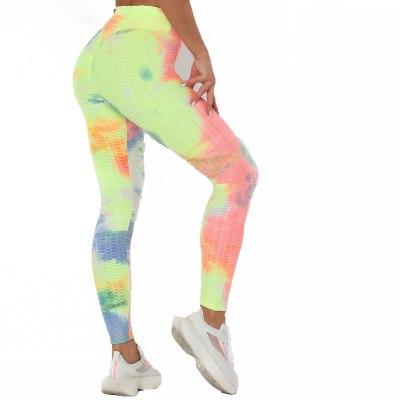 y2k Women's Pants 2021 NEW Summer Ink Jacquard Tie Dye Printed High Waist Slim Hip Fitness Mesh Bottom Leggings Trousers