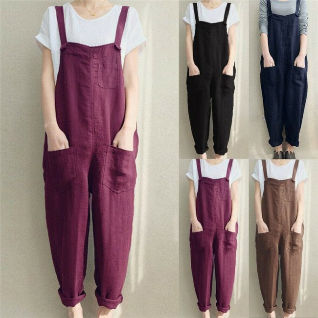 4XL Womens Sleeveless Dungarees Rompers Cotton Linen Jumpsuit Loose Preppy Style Pants Casual Pocket Overalls Playsuits