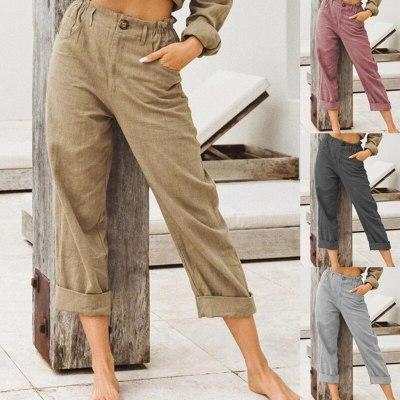 Simple Ladies Trousers Casual Lady Pants Women High Waist Comfortable Solid Color Linen Cotton Pants