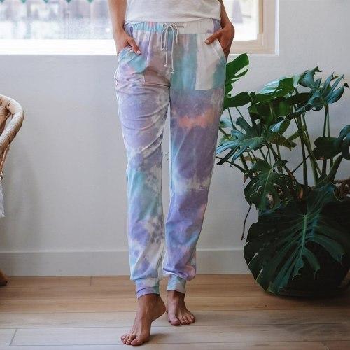 Summer Pants Plus Size 2XL Women Cotton Loose Hot Tie-dye Printed Pocket SlacksLady Fashion Home Long Trousers Pants