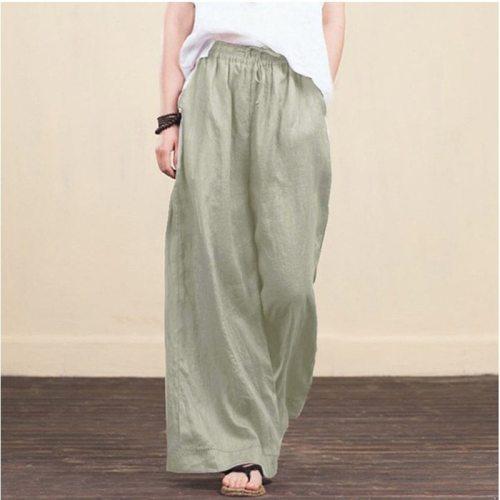 Women Autumn Spring Solid Cotton Linen Wide Leg Pants Casual High Waist  Palazzo Loose Pocket Trousers Long Pantalon Plus Size