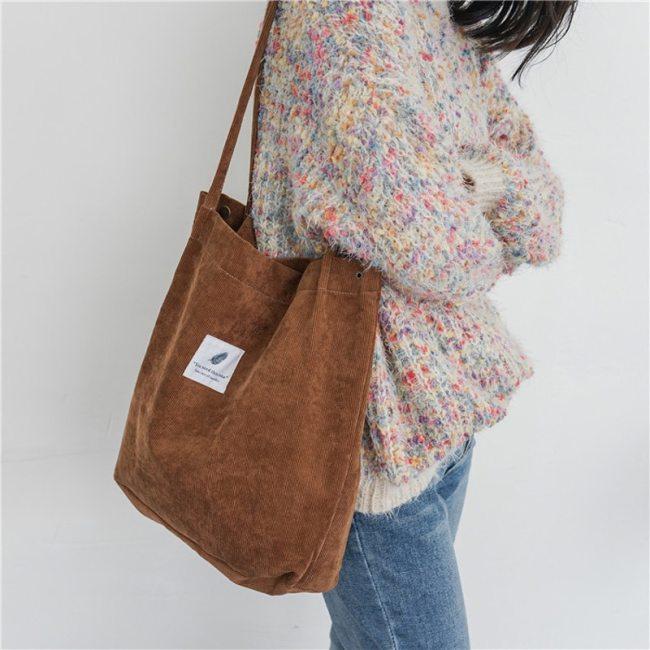 Women Corduroy Canvas Shoulder Bags Female Eco Cloth Handbag Tote Grocery Reusable Foldable Shopping Bag