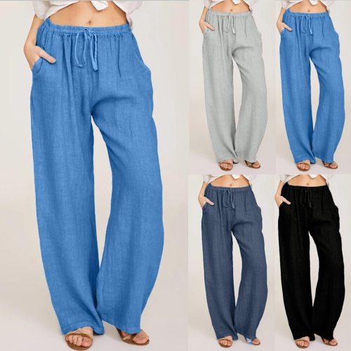 Summer Fashion Pants Plus Size 3xl Women Casual Solid Cotton Linen Pockets Loose Drawstring Elastic Waist Long Wide Leg Trousers