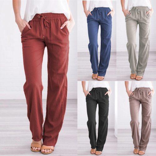 Casual Loose Pants Women Fashion Plus Size Linen Solid Mid Drawstring Elastic Waist Pockets Long Straight Wide Leg Pants