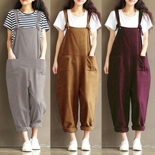 Plus Size 5xl Solid Color Women Loose Knot Tie Cotton Linen Jumpsuit Harem Overalls jumpsuits