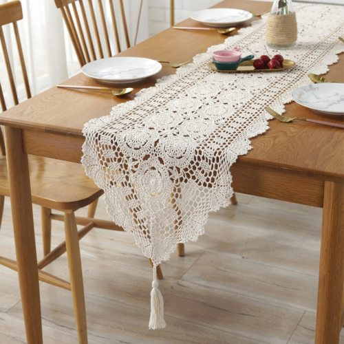 100% Cotton handcraft crochet Tablecloths Shabby Chic Vintage Crocheted Table Topper Handmade Sofa Cover Table Runner 1PC
