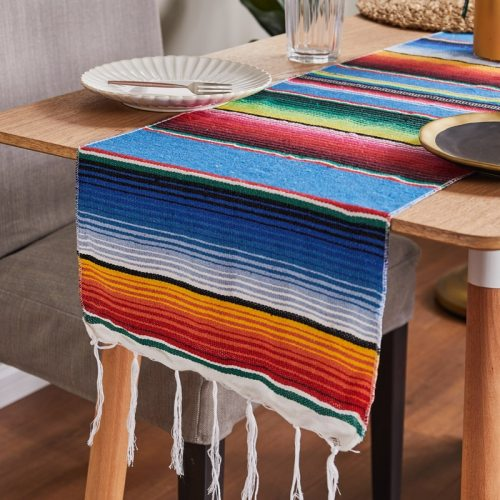 Mexican Table Runner Stripe Shawl Blanket Rainbow Tablecloth Beach Mat with Tassel 35*215cm