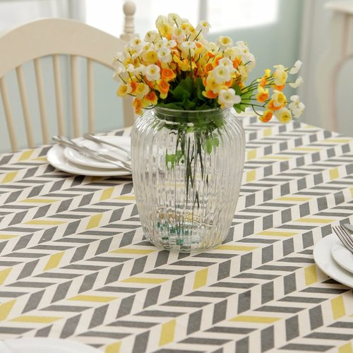 Modern Concise Polyester and Cotton Table Cloth Rectangle Printing Party Banquet Wedding Tablecloth Kitchen Table Cover for Home