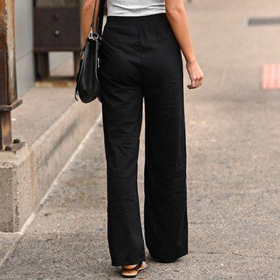 Women Pants Linen Cotton Casual Pants Solid Harajuku Green Trousers Summer Female Ankle-length Length Pants