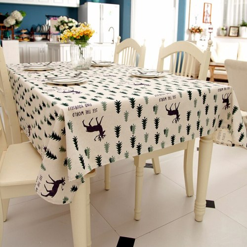 Cartoon Tree Printing Christmas Tablecloth Waterproof Oilproof Table Cover for Kitchen Table Party Banquet Wedding Table Cloth