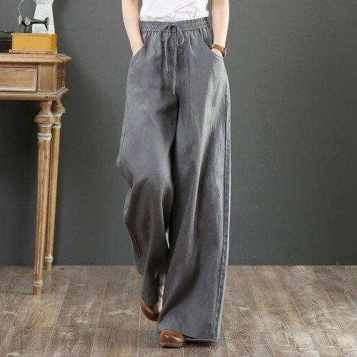 Cotton linen high waist loose large size retro casual pants mopping the floor straight trousers wide leg pants