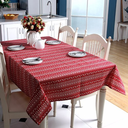 Polyester Cotton Tablecloth Red Deer Christmas Table Cloth Waterproof Oilproof Rectangle Wedding Banquet Table Cover Textile