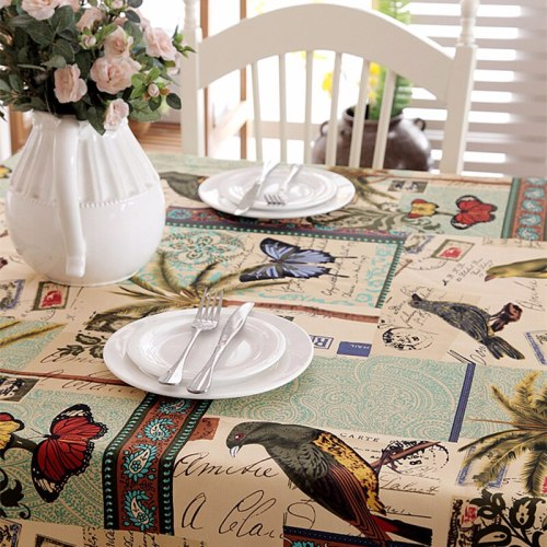 Cotton Tablecloth Cartoon bird Pattern Rectangle Tableclothes Waterproof Party Banquet Wedding Table Cloth Kitchen Table Cover