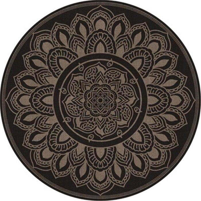 Retro Mandala Lotus Flower Pattern Round Carpet Chair Floor Mat Soft Carpets For Living Room Anti-slip Rug Bedroom Decor Carpet