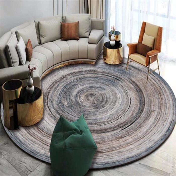 Modern Annual Ring Pattern Round Carpet Chair Floor Mat Soft Carpets For Living Room Anti-slip Rug Bedroom Decor Carpet