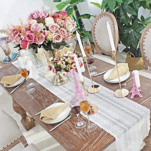 Modern White Lace Table Runners for Wedding Weaving Embroidery Floral Home Birthday Party Decoration Table Cloth