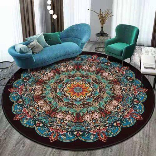 European Mandala Flower Round Carpet Tapis Retro Floor Mat Soft Carpets For Living Room Chair Anti-slip Rug Bedroom Decor Carpet